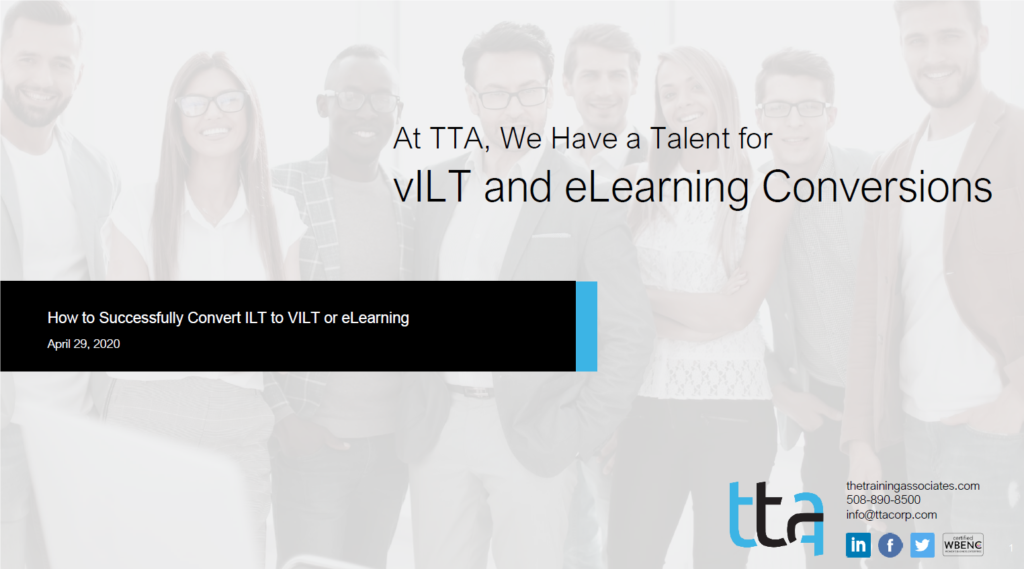 How to convert ilt to vilt or elearning